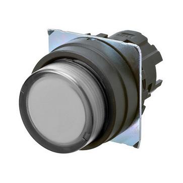 Trykknap A22NZ 22 dia., Bezel plast, projiceret, momentan, kasket farve gennemsigtig hvid, tændte A22NZ-BPM-TWA 663648