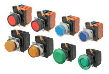 Trykknap A22NL 22 dia., Bezel metal, flad, momentan, kasket farve gennemsigtig grøn, LED grøn, 1NO1NC, 200-240 VAC A22NL-RNM-TGA-G102-GE 666670