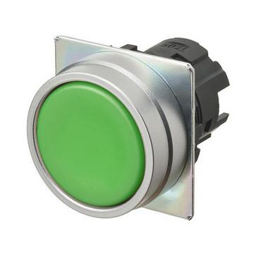 Trykknap A22NZ 22 dia., Falsen børstet metal, flad, momentan, kasket farve uigennemsigtig grøn A22NZ-MNM-NGA 664037
