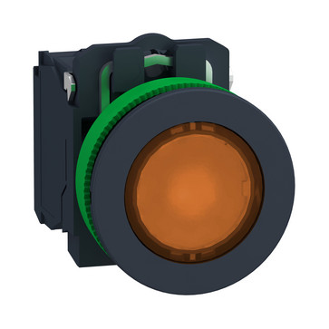Harmony flush lampetryk komplet med LED og plan trykflade med fjeder-retur i orange farve 110-120VAC forsyning 1xNO+1xNC, XB5FW35G5 XB5FW35G5