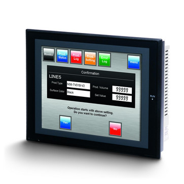 Touch screen HMI, 8,4 tommer, TFT, 256 farver (32.768 farver til .BMP/.JPG), 640x480 pixels, 2xRS-232C-porte, 60MByte hukommelse, 24VDC, sort case NS8-TV00B-V2 209577
