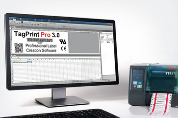 Labelsoftware TagPrint Pro med thermor transfer printer TT431 0500-10525