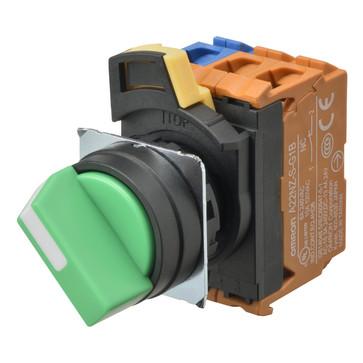 SelectorA22NS 22 dia., 2 position, IKKE-tændte, bezel plast,mAnuel, farve grøn, 1NO1NC A22NS-2BM-NGA-G102-NN 661755