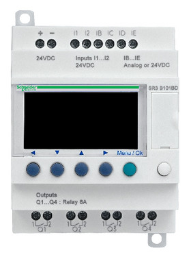 Zelio Logic SR3 Kompakt smart relæ/ programmerbar controller 10 I/Os, 24 V DC, med LCD SR3PACKBD