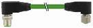 Cube67 M12 han vinklet 6-polet / M12 hun vinklet 6-polet, A-kodet, kabel 4x0,5+2x0,25mm² skærmet grøn PUR egnet til kabelkæde 4,5 meter 7000-46061-8020450