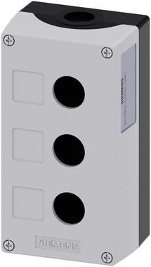Trykknapkasse 22 mm, rund, top; grå, 3 huls plastik, fordybning til etiketter, tom 3SU1803-0AA00-0AB1