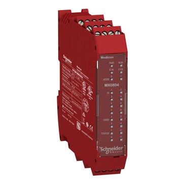 Udvidelsesmodul 8 digital inputs 4 enkelt kanaler eller 2 par OSSD Cat. 4 safety outputs, 4 test outputs, 4 Konfig. I/O ,Skrue ter. XPSMCMMX0804