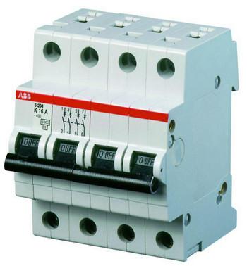 Automatsikring B 6A, 3-polet + nul B-karakteristik, brydeevne 6kA, 230/400V AC, 70mm bred S203-B6 NA 2CDS253103R0065
