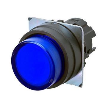 Trykknap A22NZ Ø22, bezel plast, PROJICERET, MOMENTARY, CAP FARVE transparent blå, tændte A22NZ-BPM-TAA 664270