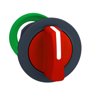 Harmony flush drejegreb i plast med et kort rødt greb med 3 positioner og fjeder-retur fra H-til-M ZB5FD804
