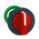 Harmony flush drejegreb i plast med et kort rødt greb med 3 positioner og fjeder-retur fra H-til-M ZB5FD804 miniature
