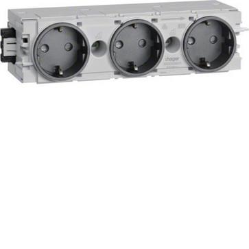 Ecoline stikkontakt 3xSCHUKO for C-profilmontage RAL9011 GS30009011