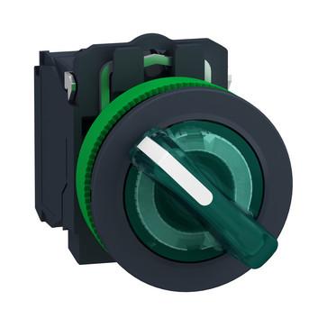 Harmony flush drejeafbryder komplet med LED og 2 faste positioner i grøn 230-240VAC 1xNO+1xNC, XB5FK123M5 XB5FK123M5