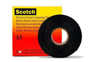 Scotch® tape 13 halv-ledende tape, 19 mm x 2,25 m. Sort EP gummi, selv-vulkaniserende,  0.76 mm tyk 7000007284