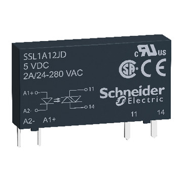 Solid state relæ slim nulvoltskoblende for SSLZR og SSLZV sokkel 280VAC 2A 60VDC forsyning SSL1A12ND