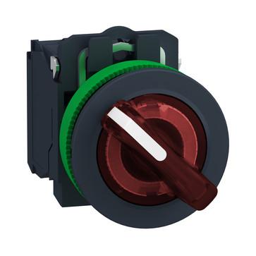 Harmony flush drejeafbryder komplet med LED og 2 faste positioner i rød 110-120VAC 1xNO+1xNC, XB5FK124G5 XB5FK124G5