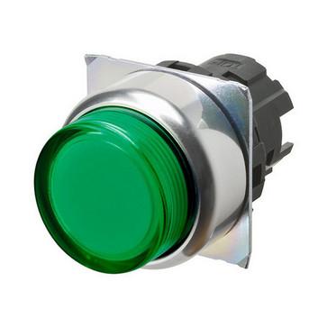 Trykknap A22NZ 22 dia., Bezel metal, projiceret, momentan, kasket farve gennemsigtig grøn, tændte A22NZ-RPM-TGA 664051