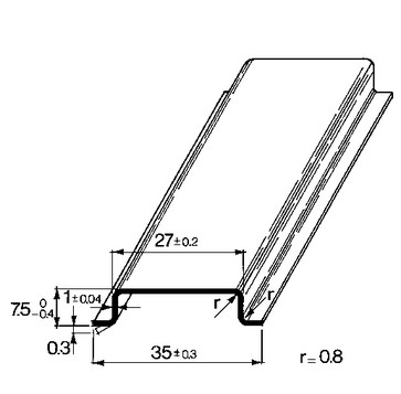 Skinne for POK 6 med skruer TS35X7,5/POK