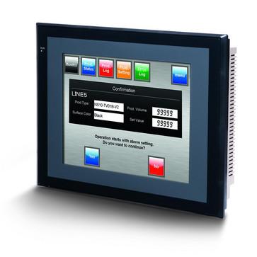Touch screen HMI, 10,4 tommer, TFT, 256 farver (32.768 farver til .BMP/.JPG), 640x480 pixels, 2xRS-232C-porte, 60MByte hukommelse, 24VDC, sort case NS10-TV00B-V2 209581