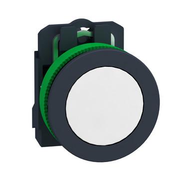 Harmony flush trykknap komplet med fjeder-retur og plan trykflade i hvid farve 1xNO, XB5FA11 XB5FA11