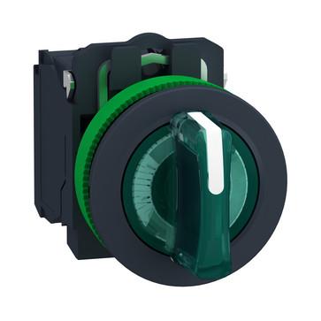 Harmony flush drejeafbryder komplet med LED og 3 faste positioner i grøn 24VAC/DC 1xNO+1xNC, XB5FK133B5 XB5FK133B5
