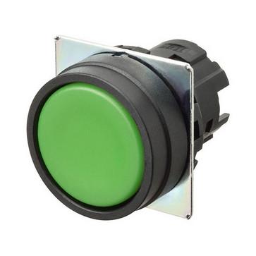 Trykknap A22NZ 22 dia., Bezel plast, flad, momentan, kasket farve uigennemsigtig grøn A22NZ-BNM-NGA 660475