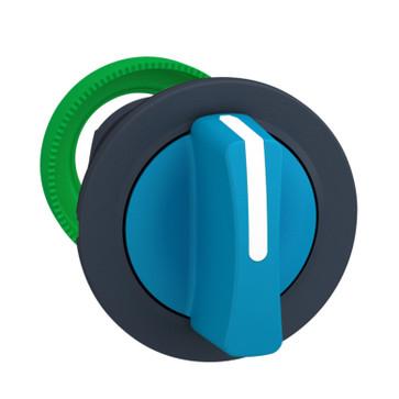 Harmony flush drejegreb i plast med et kort blåt greb med 3 positioner og fjeder-retur fra V-til-M ZB5FD706