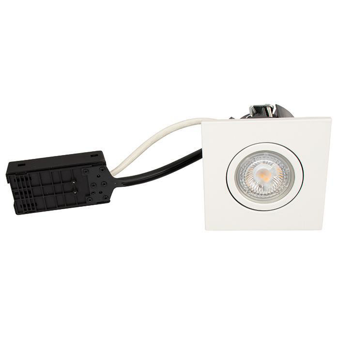 Luna Quick install 230V Dæmpbar flimmerfri GU10 5W 3000K 385lm IP44 Mat Hvid Firkantet.