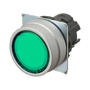 Trykknap A22NZ 22 dia., Falsen børstet metal, flad, momentan, kasket farve gennemsigtig grøn, tændte A22NZ-MNM-TGA 665935