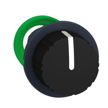 Harmony flush drejegreb i plast med en sort rund knob med 3 positioner og fjeder-retur fra V-til-M ZB5FD79