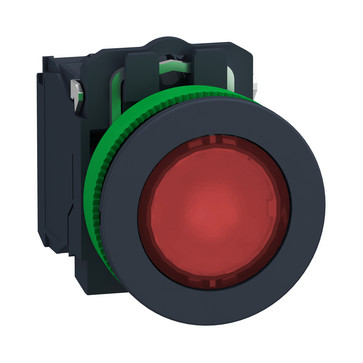 Harmony flush lampetryk komplet med LED og plan trykflade med fjeder-retur i rød farve 110-120VAC forsyning 1xNO+1xNC, XB5FW34G5 XB5FW34G5