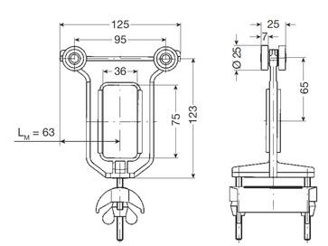 Medbringervogn for fladkabel, plast med stålhjul og patentmøtrikker, ms 1 f/125-50-pm, alle typer 0313282