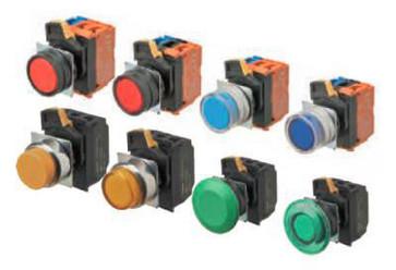 Trykknap A22NL 22 dia., Bezel metal, flad, momentan, kasket farve gennemsigtig rød, LED rød, 1NO1NC, 200-240 VAC A22NL-RNM-TRA-G102-RE 662905