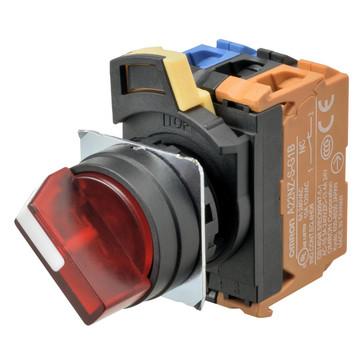 SelectorA22NW 22 dia., 2 position, Oplyste, bezel plast,Automatisk reset på venstre, farve rød, LED rød, 1NO1NC, 24VDC A22NW-2BL-TRA-G102-RC 662797