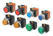 Trykknap A22NL 22 dia., Bezel metal, flad,Alternativ, cap farve gennemsigtig rød, LED rød, 1NO1NC, 200-240 VAC A22NL-RNA-TRA-G102-RE 663351