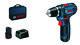 Blå Bosch 12V bore-/skruemaskine GSR 12V-15 m/2X2AH, lader og taske 4419004042
