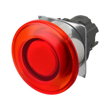 Trykknap A22NZ 22 dia., Bezel metal, champignon,Alternativ, cap farve gennemsigtig rød, tændte A22NZ-RMA-TRA 661562