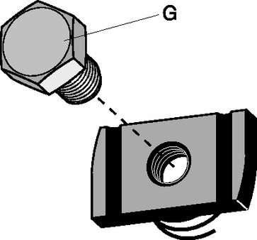 Møtrik/bolt rustfri M10X20mm H=21mm 978R