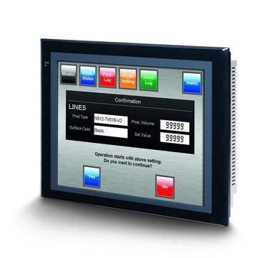 Touch screen HMI, 12,1 tommer, TFT, 256 farver (32.768 farver til .BMP/.JPG), 800x600 pixels, 2xRS-232C-porte, 60MByte hukommelse, 24VDC, sort case NS12-TS00B-V2 204266
